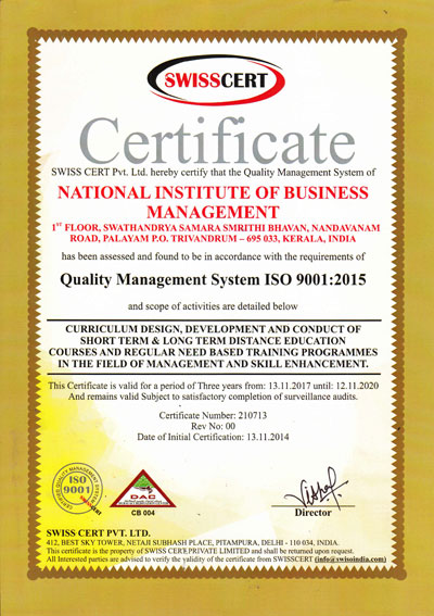 Nibm Is Iso 9001 2015 Certified Institute